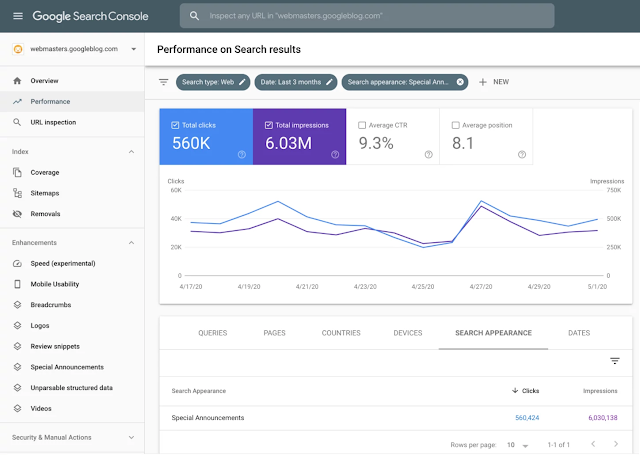 Google Search Console New Update Special Announcements: May 05, 2020
