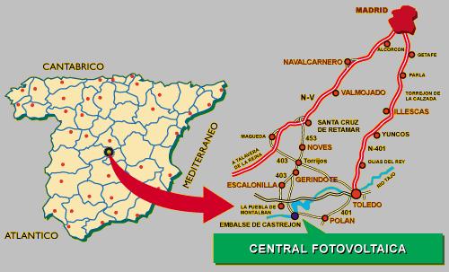 mapa planta solar Toledo PV espana