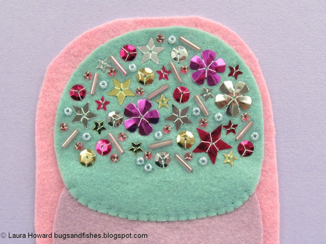decorate the felt ice cream with sequin and bead sprinkles