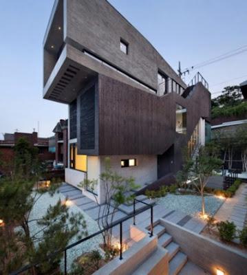 rumah mewah minimalis modern 2 lantai futuristik