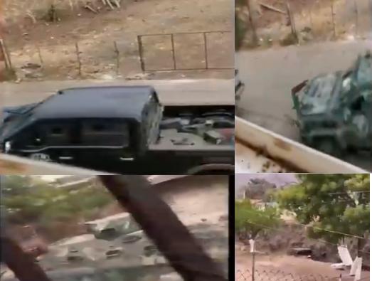 Video; Convoy de El CJNG revienta reten Militar en Aguililla, Michoacán quienes al verse superado en numero y armamento fueron levantados y secuestrados , no se sabe nada de los Soldados