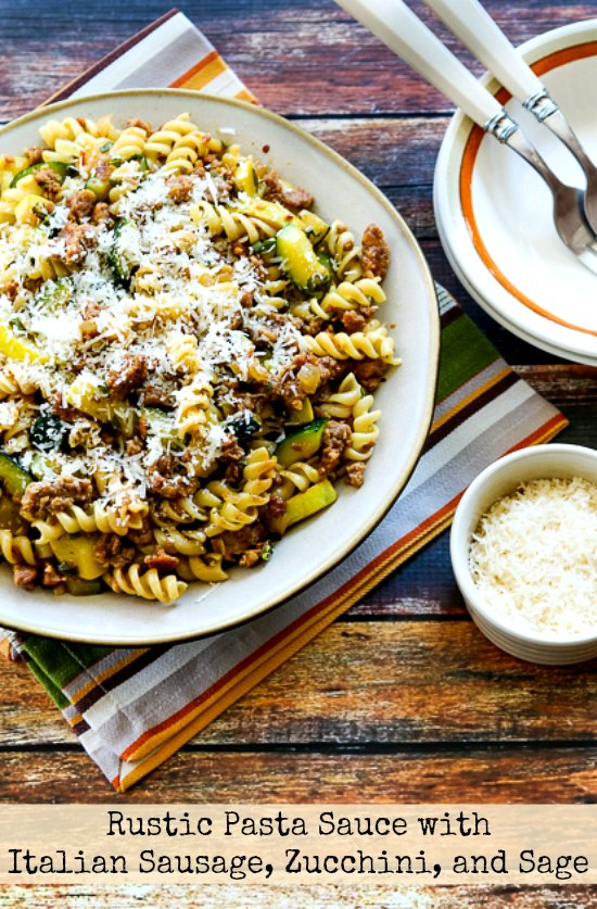 Rustic Pasta Sauce with Italian Sausage, Zucchini, and Sage found on KalynsKitchen.com