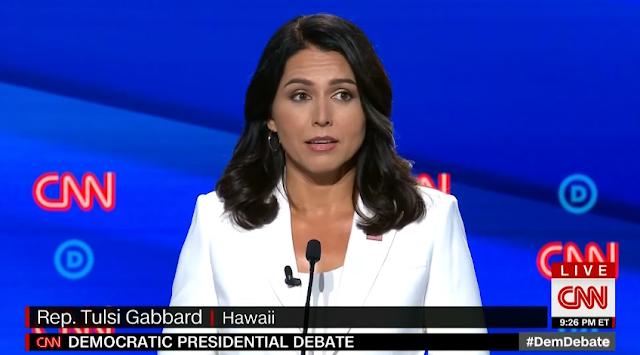 Tulsi Gabbard beautiful white suit jacket Democrat presidential primary debate CNN July 2019