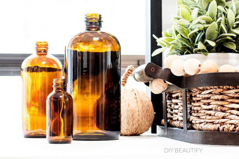 amber bottles glow