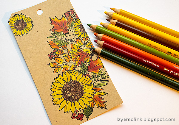 Layers of ink - Leaves on Kraft Tutorial by Anna-Karin Evaldsson. Add more color.
