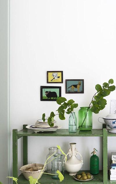 meuble cuisine étagère bois vert