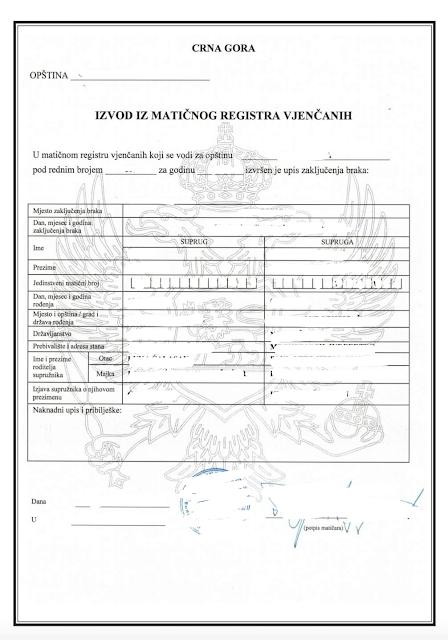 свидетельство о браке черногория, свадьба в черногории