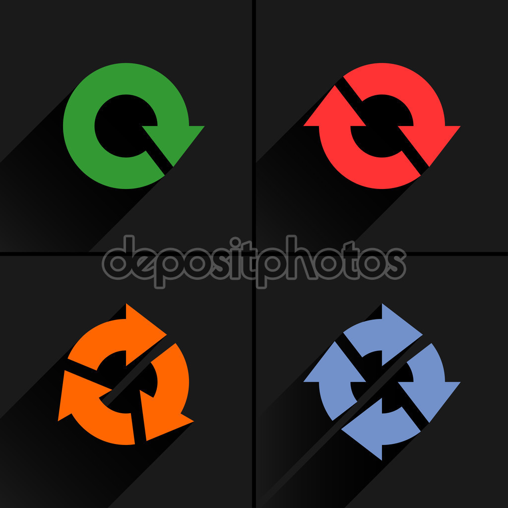 Download Free (Freebies) Vector EPS File Graphics Image Design Art Stock Illustration: 4 color arrow refresh, reload, rotation, loop icon. Flat icon with black long shadow on gray background. Vector illustration web design elements 8 eps