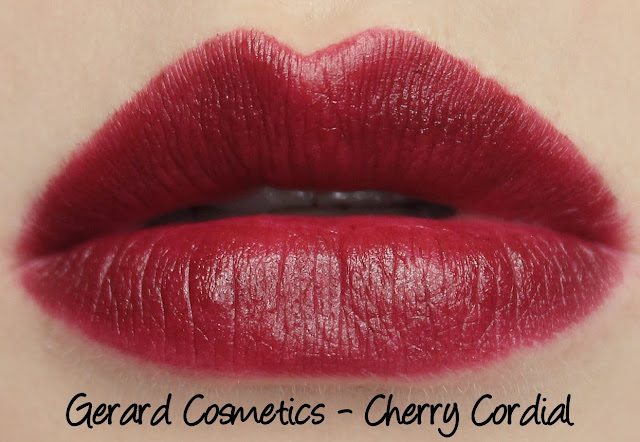 Gerard Cosmetics Lipsticks - Cherry Cordial Swatches & Review