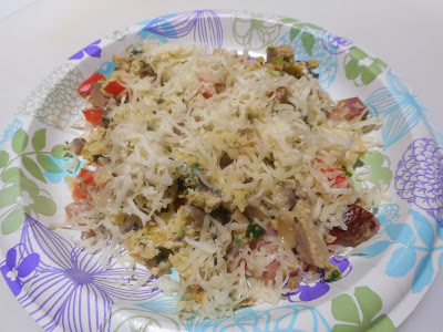 My Egg Scramble: Ham and Eggs with red peppers, green onions, and cheese