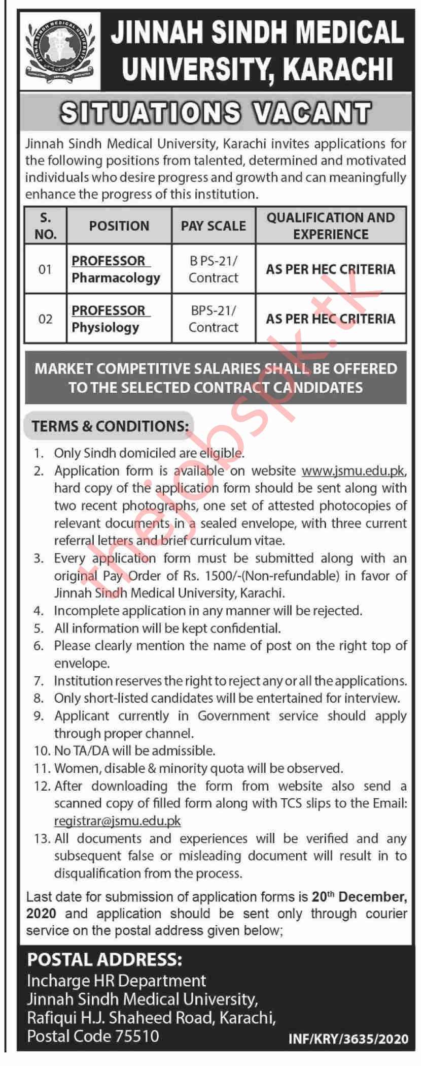 Jinnah Sindh Medical University Jobs 2020 Latest