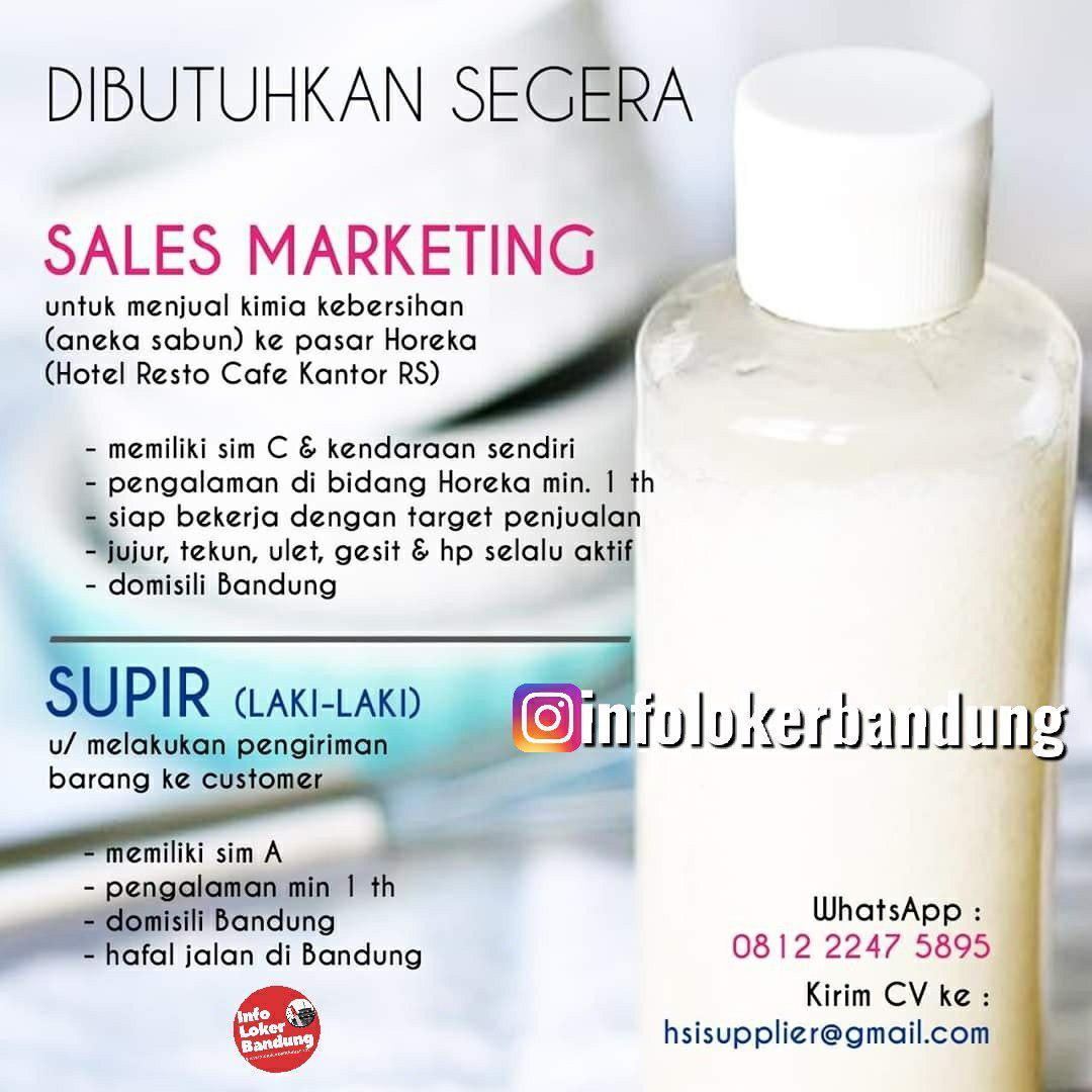 Lowongan Kerja Sales Marketing & Supir HSI Supplier Bandung Desember 2019