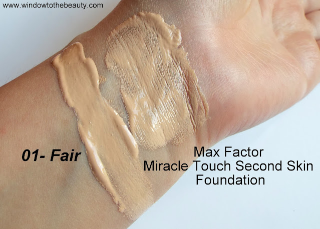 Max Factor Miracle Touch Second Skin Foundation 01 Fair swatches