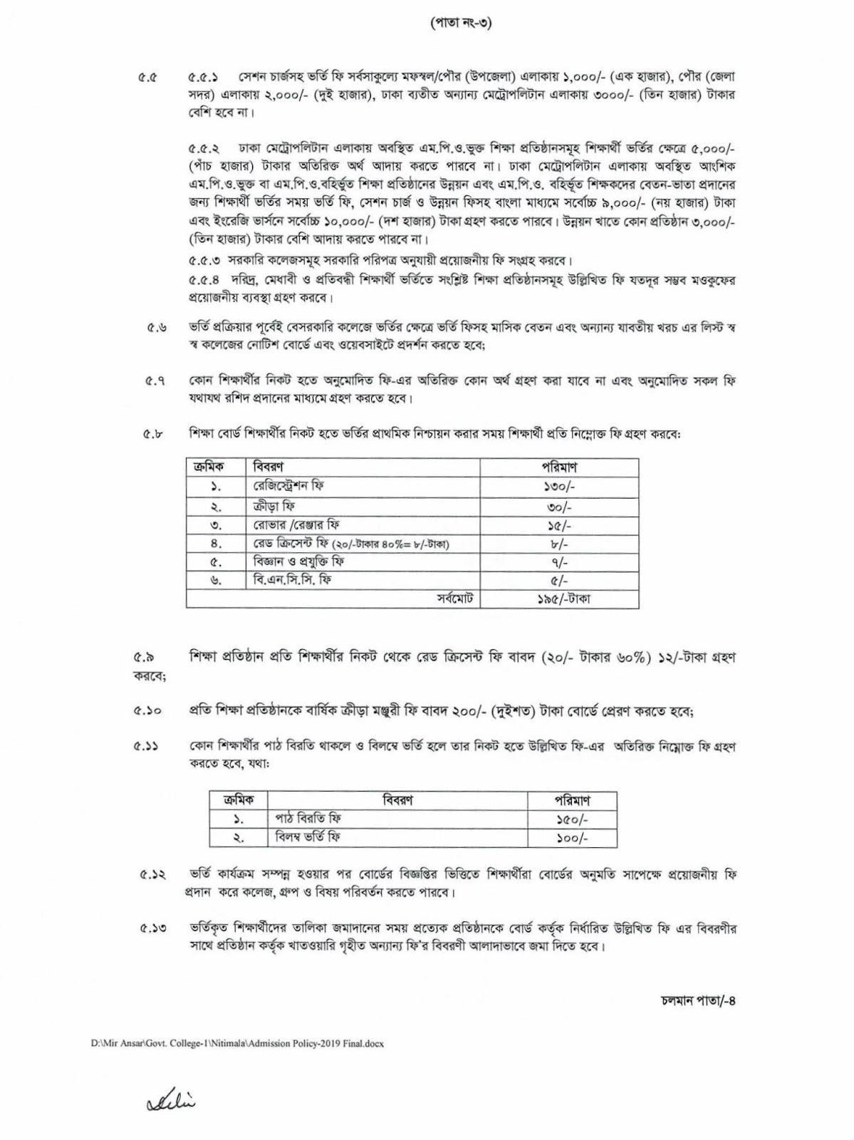 HSC Admission Circular Notice 2019