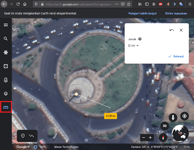 Fitur Ukur Jarak Lurus Google Earth