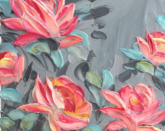 Pink flowers on grey background done using impasto technique
