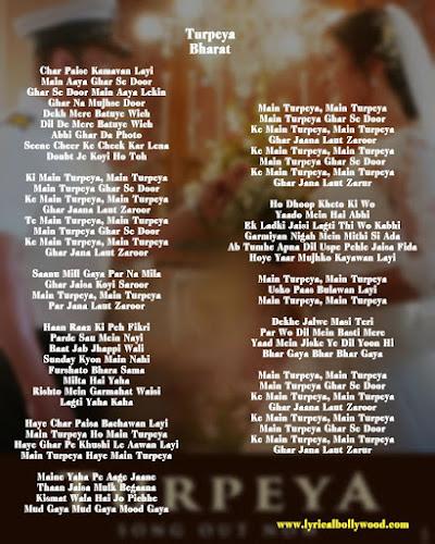 Turpeya song photo Lyrics In English