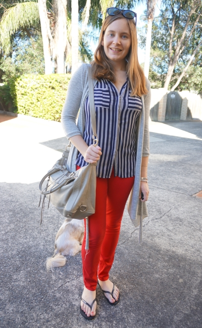 Red skinny jeans, navy stripe sleeveless tank grey cardigan and bag | Away From Blue