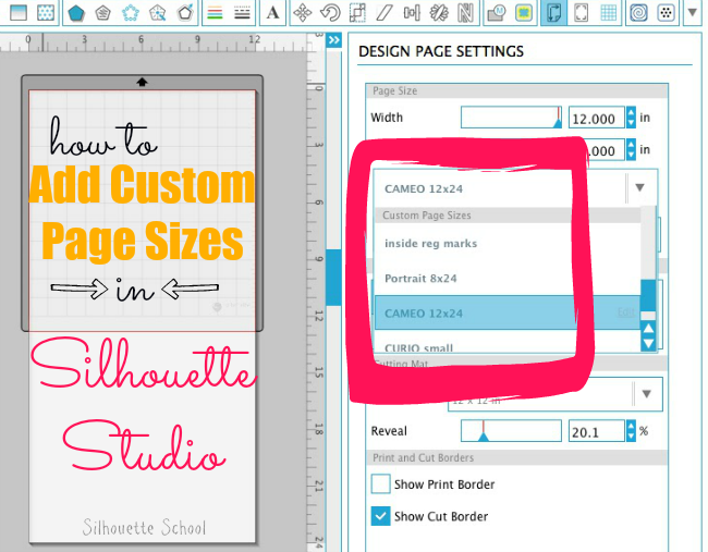 Silhouette Studio, Silhouette tutorial, page size, custom page size