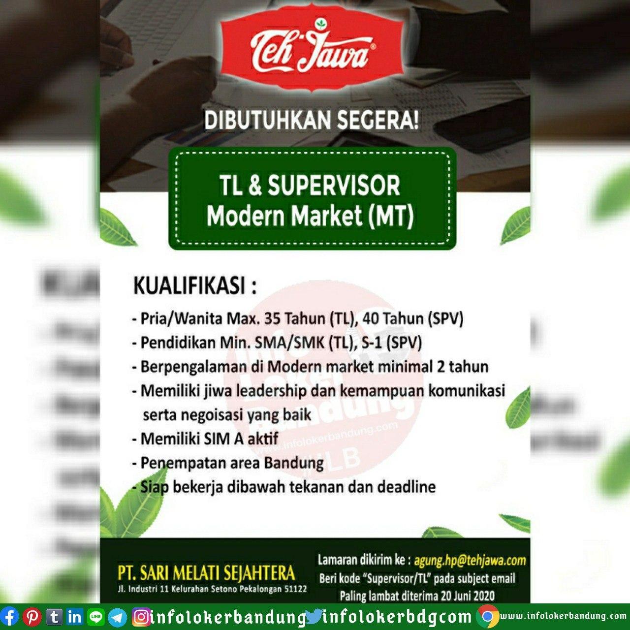 Lowongan Kerja PT. Sari Melati Sejahtera ( Teh Jawa ) Bandung Juni 2020