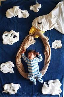 Ideas para fotos de bebés - cigueña