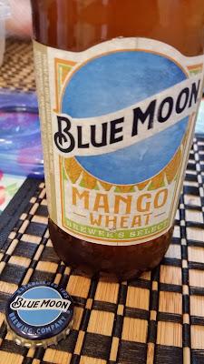 beer - Blue Moon Mango Wheat - bottle, bottle label, bottle cap