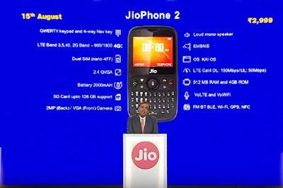 JIO PHONE 2 FEATURES SPECIFICATIONS PRICE