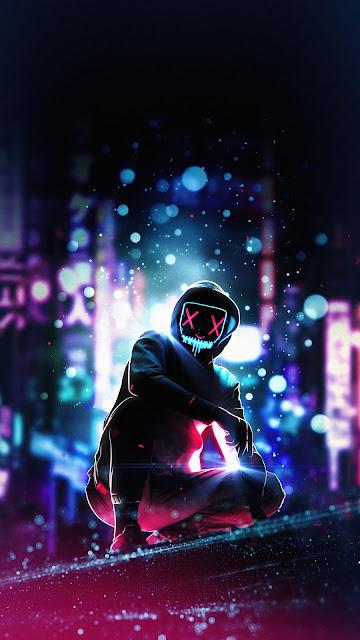 HD wallpaper City Hoodie Mask Man