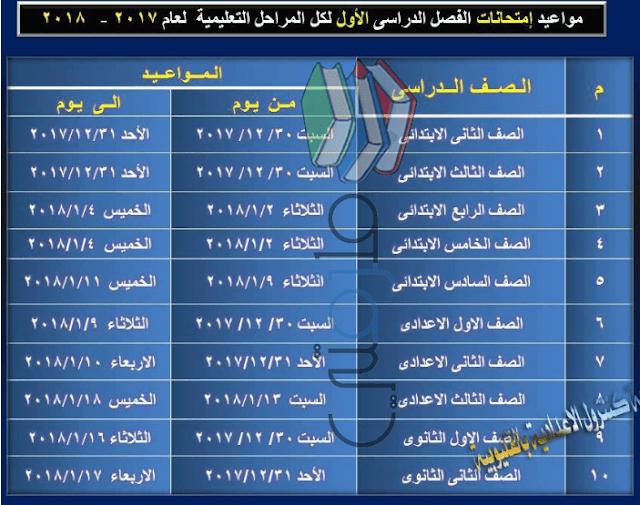 جدول امتحانات محافظة القليوبية نصف العام 2018