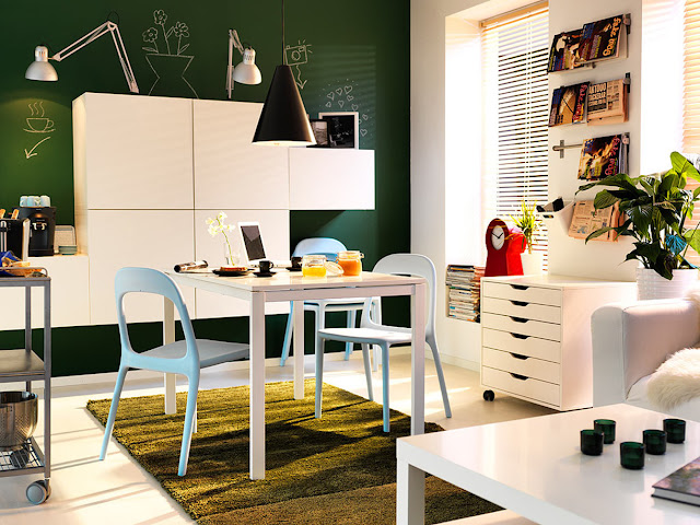 classy ikea small spaces with white dining table and simple white dining chairs