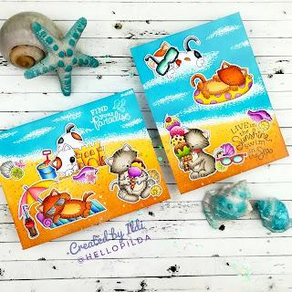 Summer Beach Cards by July Guest Designer Ildi Imrefalvi | Newton's Summer Treats, Newton Summer Vacation and Vitamin Sea Stamp Sets by Newton's Nook Designs #newtonsnook #handmade