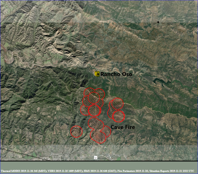 Cave fire location map including Thousand Trails Rancho Oso Resort
