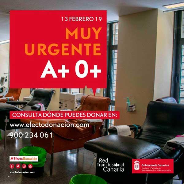 Muy urgente, se necesita donación de sangre en Canarias, grupos A+ y 0+ 13 febrero