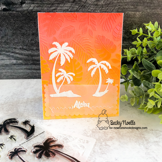 Aloha by Becky feature Paradise Palms, Aloha Newton, Tropical Leaves, and Frames & Flags by Newton's Nook Designs; #newtonsnook