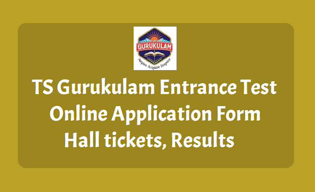 TS Gurukulam Entrance test Online application form, Hall tickets, Results