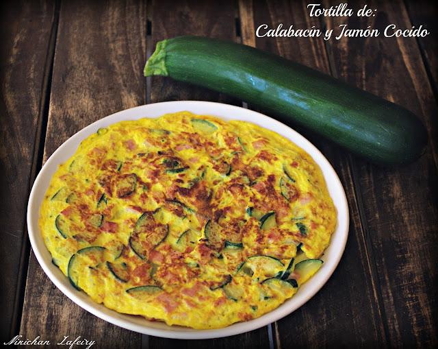 TORTILLA DE CALABACÍN Y JAMÓN COCIDO 2