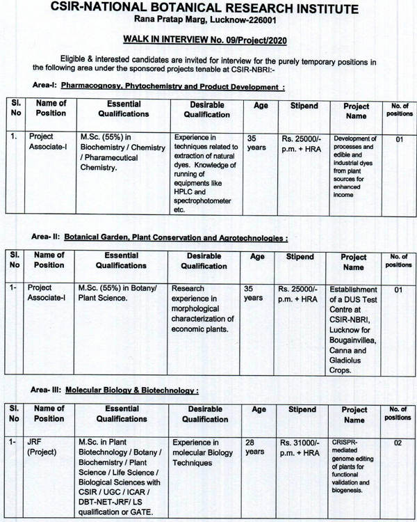 CBRI Lucknow Biochemistry/Botany/Molecular Biology/Microbiology Project Walk INs