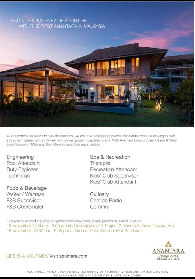 Temuduga Terbuka di Anantara Desaru Coast Resort & Villas.