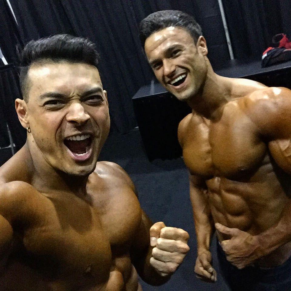 Felipe Franco e Fawad Ahadi no backstage do Mr Olympia 2016. Foto: Arquivo pessoal