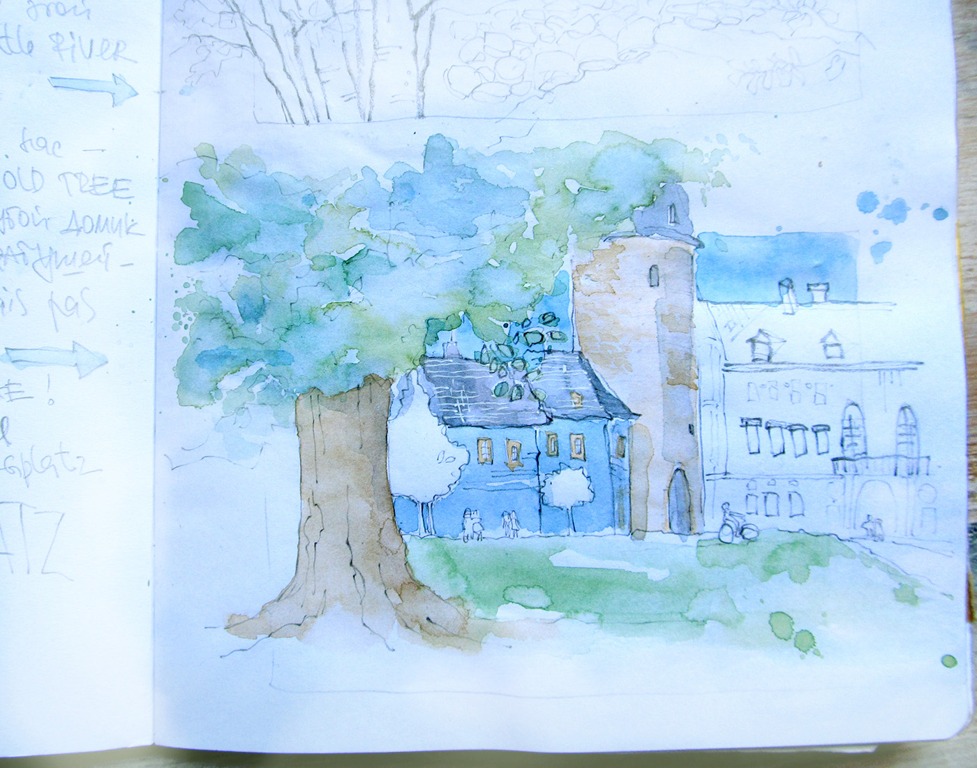 Weimar travel sketchbook Park an der Ilm