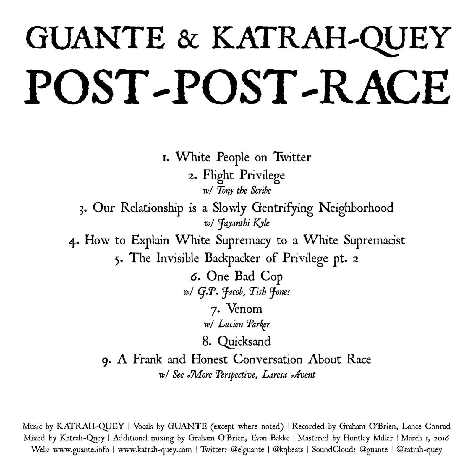 Guante Guante Katrah Quey Post Post Race Available Now