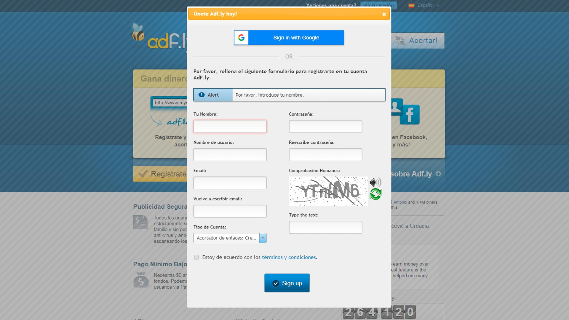 Como crear una cuenta de adfly | Como registrarme