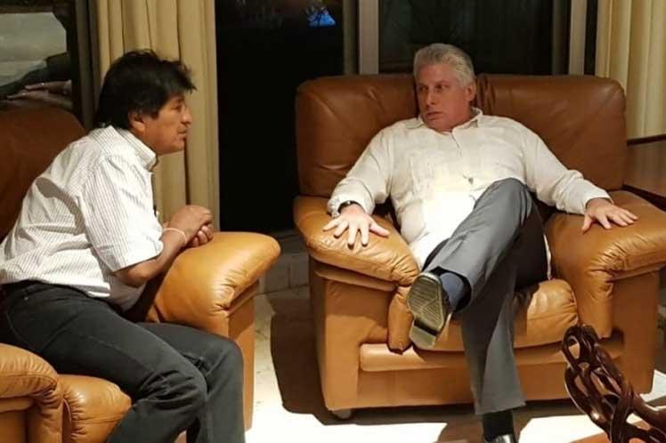 Diaz Canel recibió a Morales hace un año en La Habana, cuando el dirigente indígena aún era mandatario de Bolivia / PL