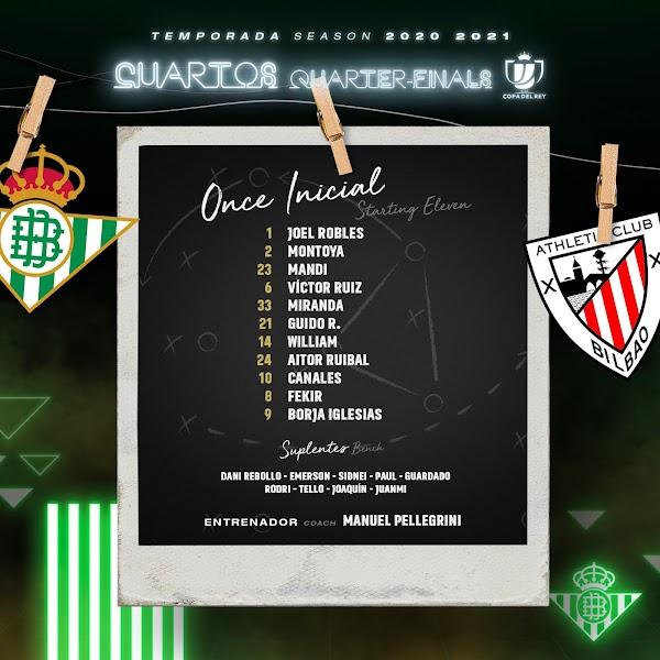 Betis - Athletic, alineaciones oficiales
