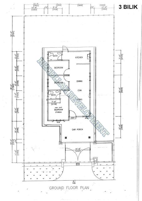 Floor Plan Banglo 3 Bilik di Batu Gajah Perak