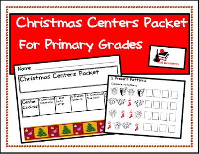 Free Christmas center packet for first and second graders - from Raki's Rad Resources.