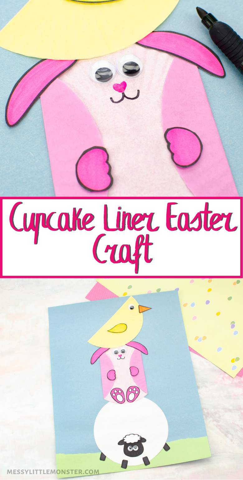 Easter craft for kids. Use cupcake liners to make an Easter bunny craft, Easter chick craft and lamb craft.