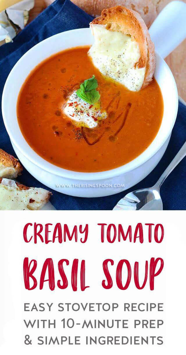 An easy recipe for Creamy Tomato Basil Soup that's healthy, homemade, and only takes about 40 minutes to fix on the stove with just 10 minutes of prep. It's made with simple ingredients like canned tomatoes, fresh basil, and carrots, which results in a light, yet cozy tomato soup that you'll want to make on repeat all year long. {gluten-free & grain-free with dairy-free options}