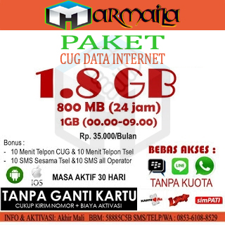 Paket CUG Internet 1.8GB dan 1.1GB Murah Telkomsel CUG Armaila