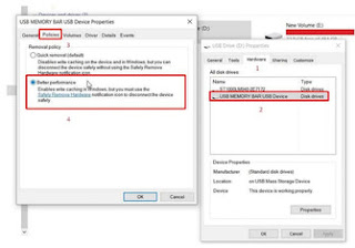 pengaturan flash disk ke better performance untuk mempercepat proses copy file besar